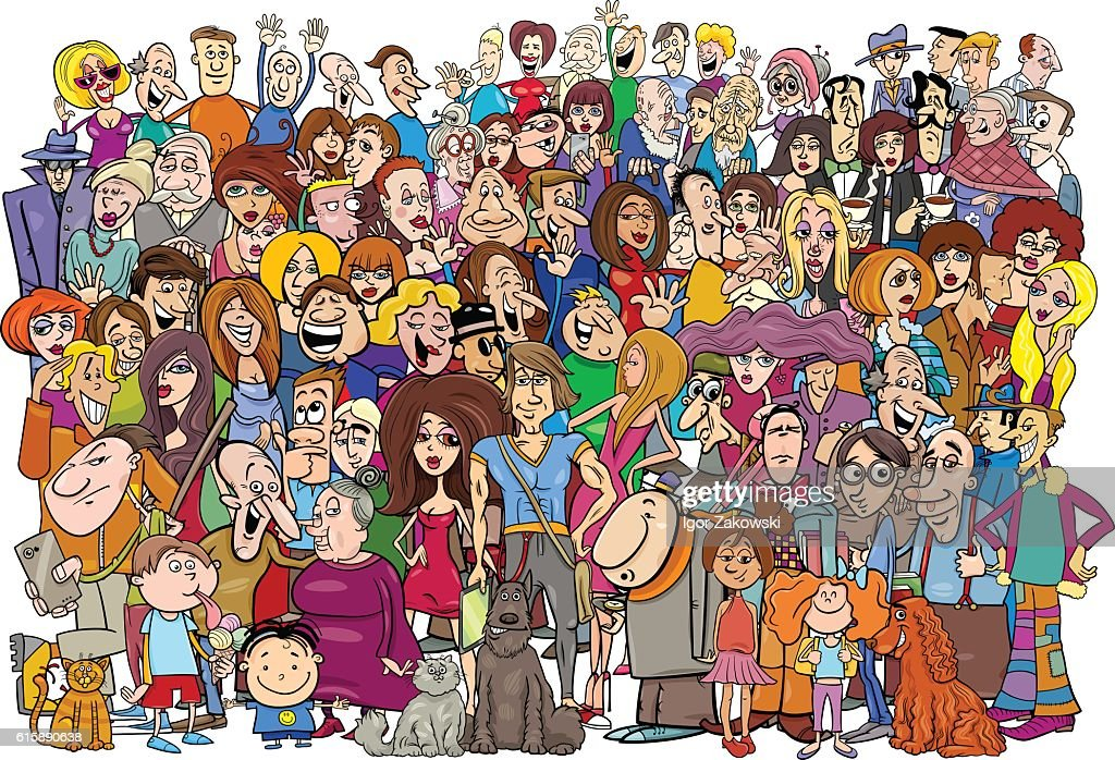 cartoon people in the crowd