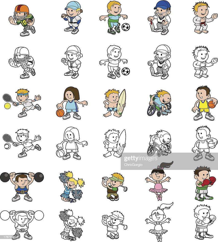 Cartoon people playing sports
