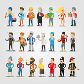 Cartoon People Professions Set with Doctor, Judge, Student, Repairer, Chief, Farmer