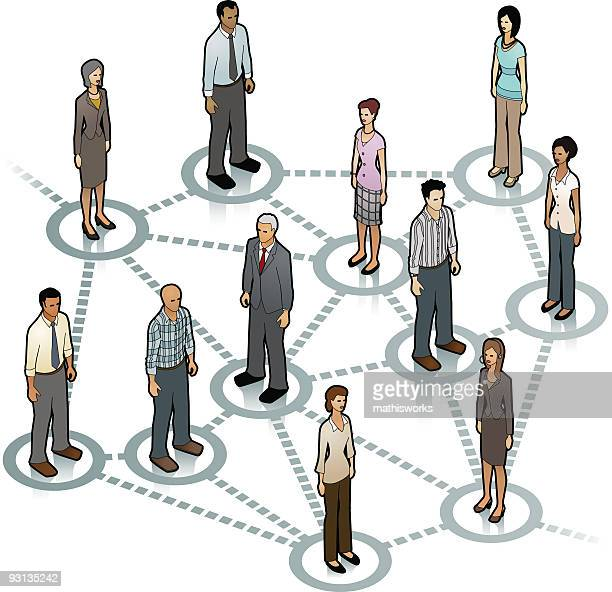 Cartoon people standing on interconnected circles