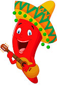 Cartoon Pepper with Mexican Hat Playing A Guitar