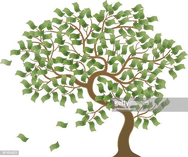 cartoon photo of a tree growing money - money tree stock illustrations, clip art, cartoons, & icons