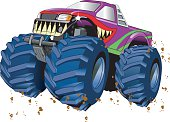 Cartoon picture of a colorful monster truck