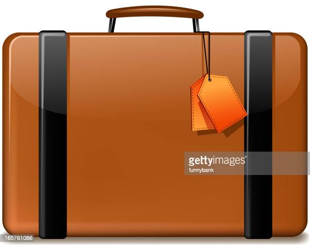 cartoon picture of a orange and black suitcase with tags - luggage tag stock illustrations, clip art, cartoons, & icons