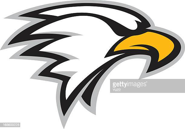 cartoon picture of an eagle head mascot - eagle bird stock illustrations, clip art, cartoons, & icons