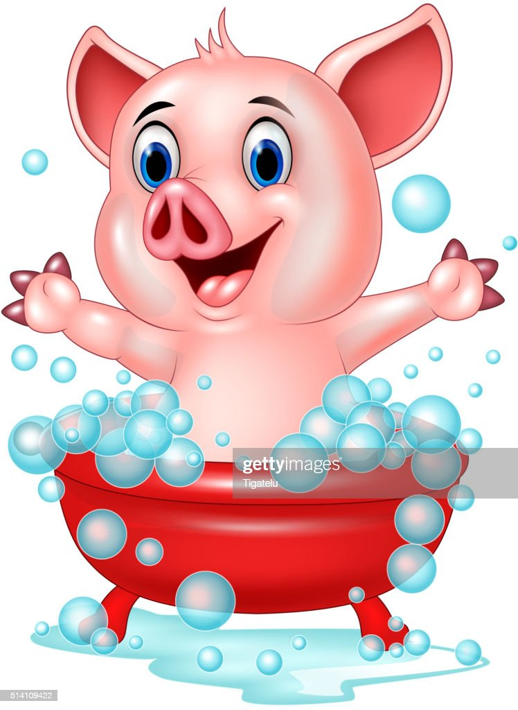 Cartoon pig bathing waving hand