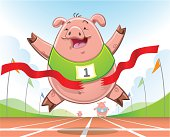 Cartoon pig crossing the finish line on an athletics track