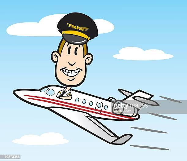 Cartoon Pilot With Jet Plane