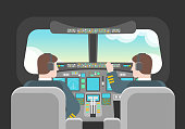 Cartoon Pilots in Cockpit Concept. Vector