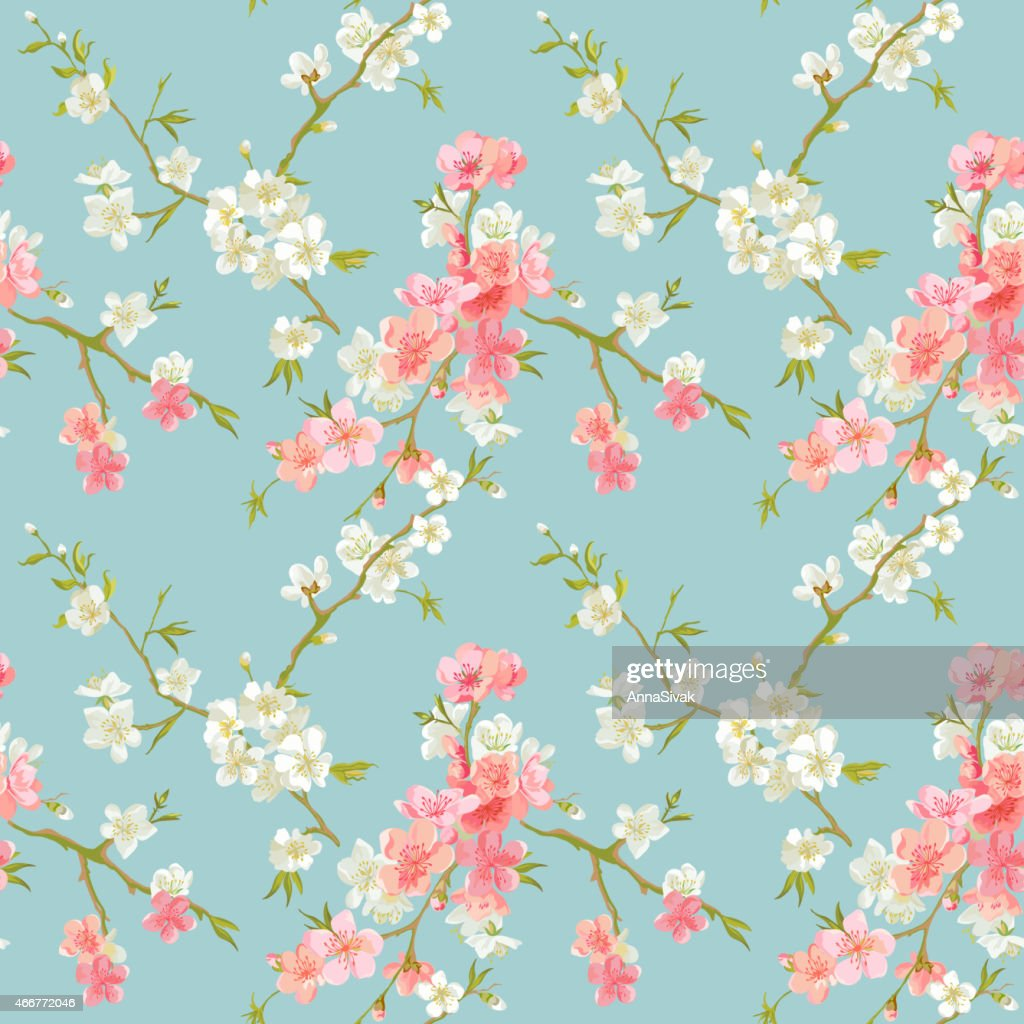 Cartoon pink and white spring blossoms spread throughout