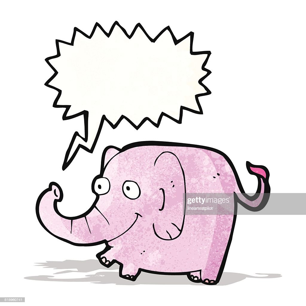 cartoon pink elephant trumpeting