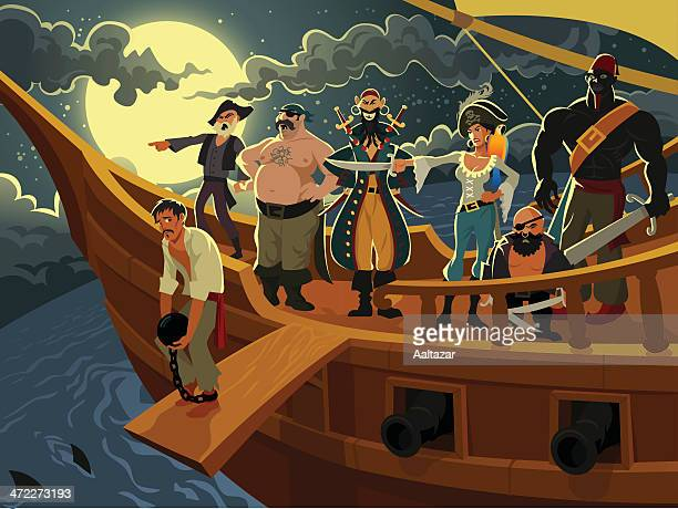 cartoon pirates on a pirate ship at night - pirate boat stock illustrations, clip art, cartoons, & icons