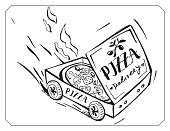 Cartoon pizza box delivery hot pizza. Hand drawn image. Delivery car.