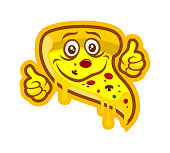 Cartoon pizza character mascot with thumbs up