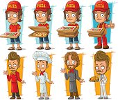 Cartoon pizza delivery boy and cook chef character vector set
