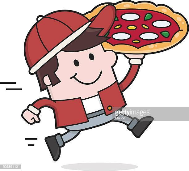 ilustrações de stock, clip art, desenhos animados e ícones de mulher pizza homem entrega/de entrega dos alimentos - pizzaria