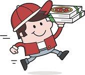 cartoon Pizza Man delivers
