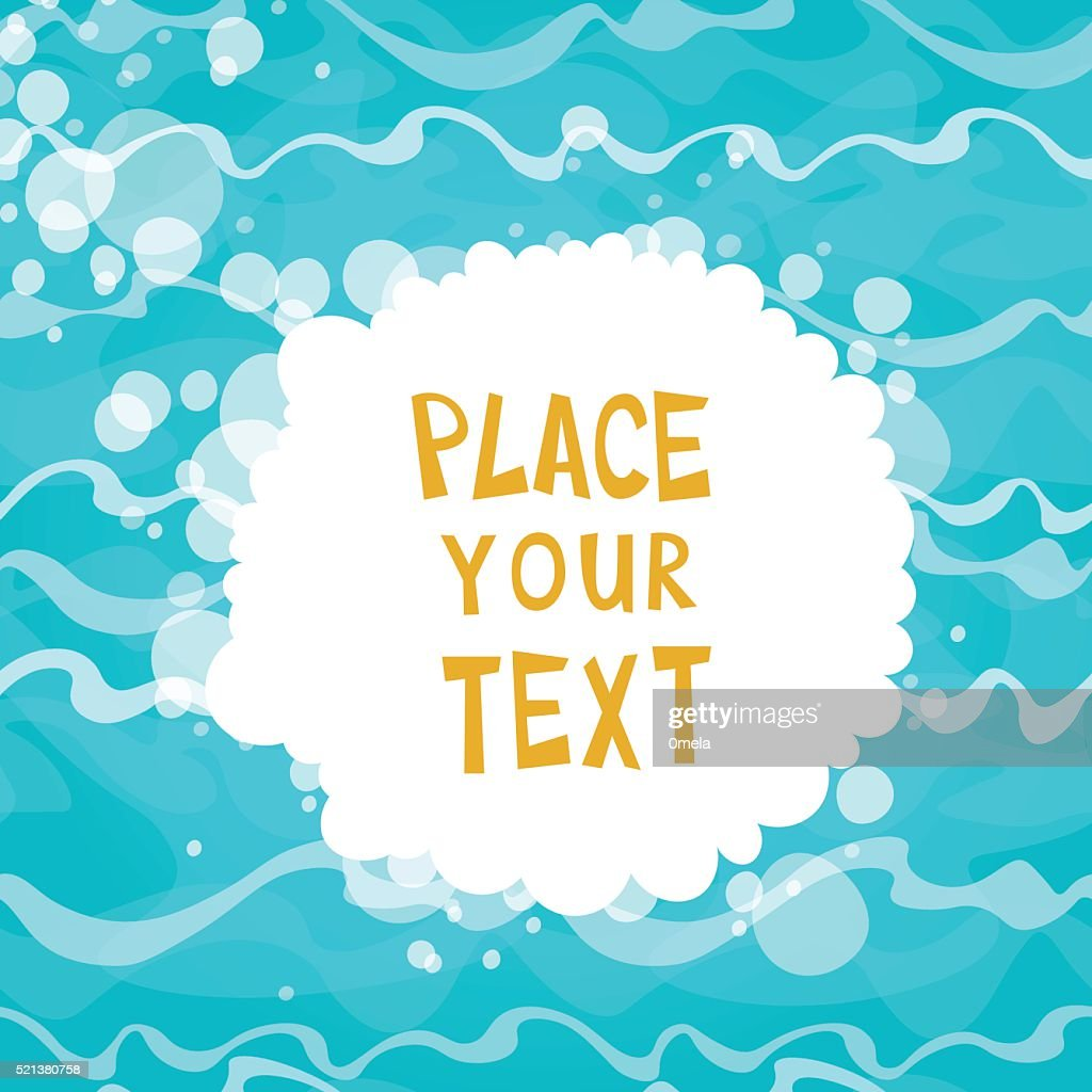 Cartoon placard on shiny blue water background with waves.