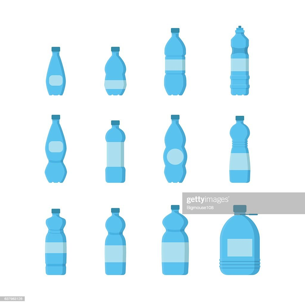 Cartoon Plastic Blue Bottles for Water Set. Vector