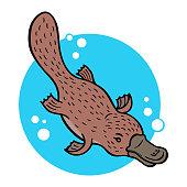 Cartoon platypus or duckbill; vector illustration