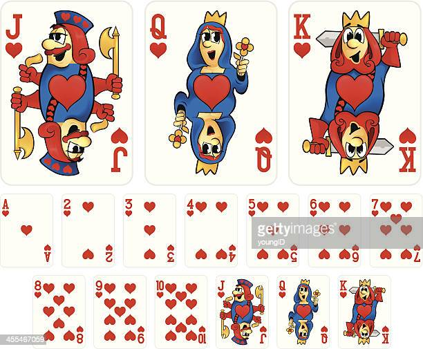 Cartoon Playing Cards - Hearts Suit