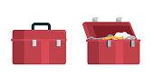 Cartoon plumbers opened and closed tools box set