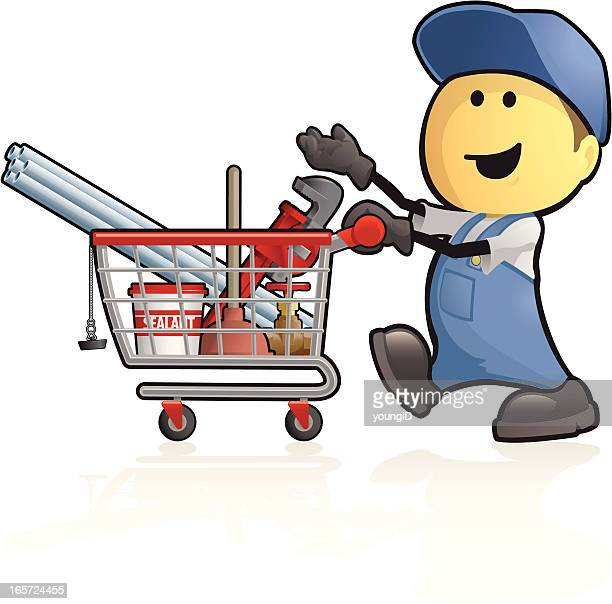 cartoon plumbing supplies shopping - plunger stock illustrations, clip art, cartoons, & icons