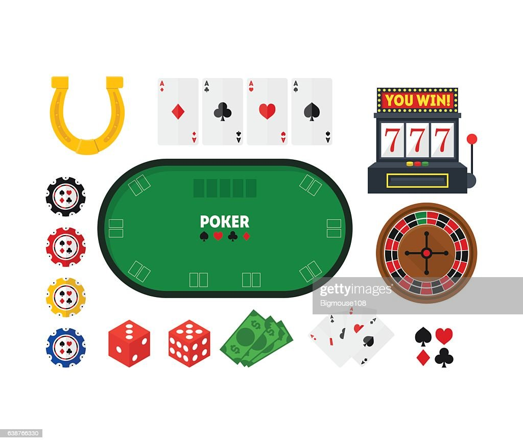 Cartoon Poker Set. Vector
