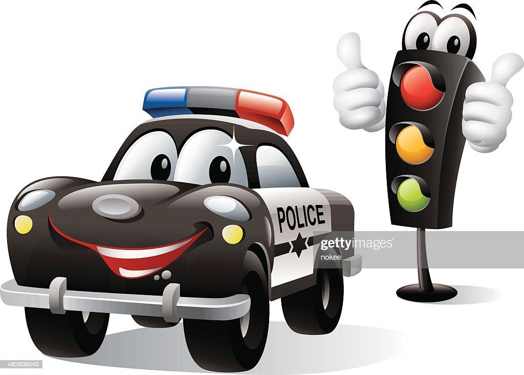 Dessin Animé Voiture De Police Avec Feu De Signalisation Clipart