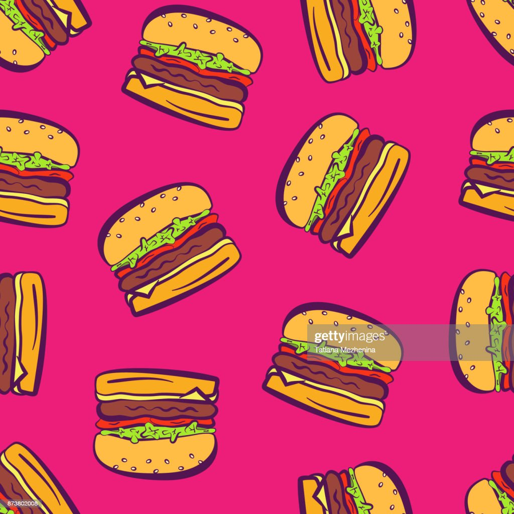 Cartoon pop art bright hamburgers on pink pattern