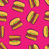 Cartoon pop art bright hamburgers on pink pattern