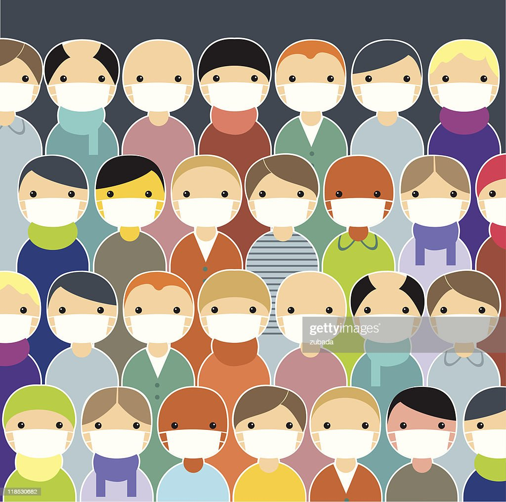 Cartoon population wearing face masks to prevent epidemic