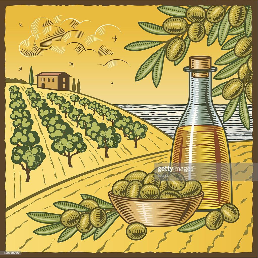 Cartoon portrayal of olive oil harvest