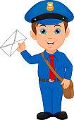 Cartoon postman holding a mail