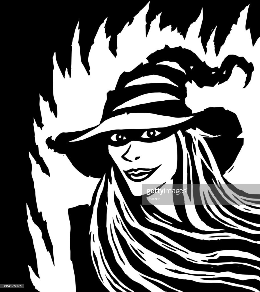 Cartoon pretty black witch. Vector illustration.