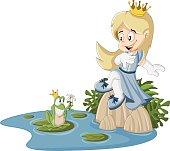 Cartoon princess and frog