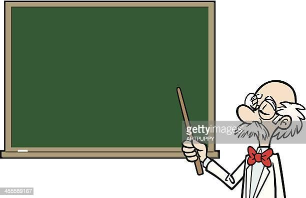 Cartoon Professor At Blackboard