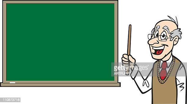 Cartoon Professor With Blackboard