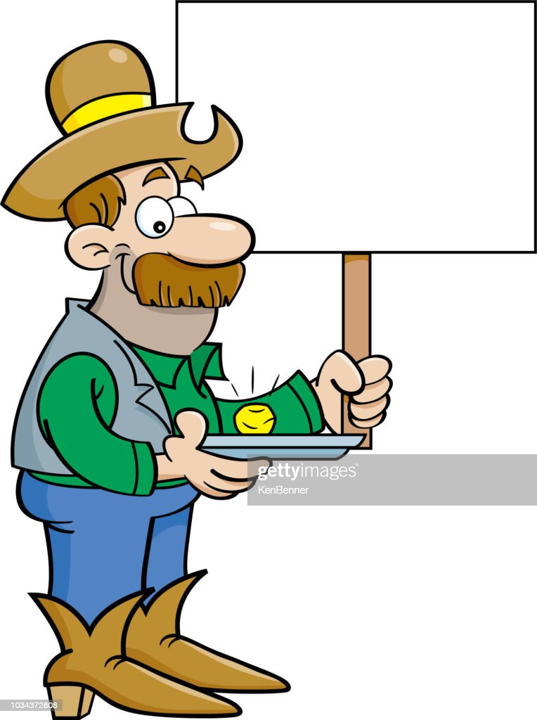 Cartoon prospector with a gold nugget holdling a sign.