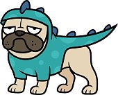 Cartoon Pug Dog Wearing Costume Vector Illustration
