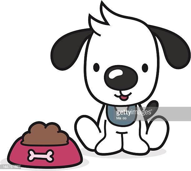 cartoon puppy with full bowl / animal food