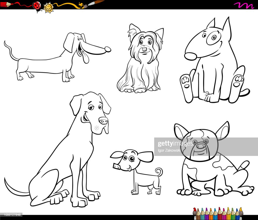 cartoon purebred dog characters color book