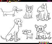cartoon purebred dog characters color book