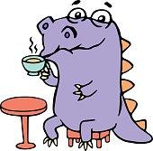 Cartoon purple croc drinking coffee. Vector illustration.