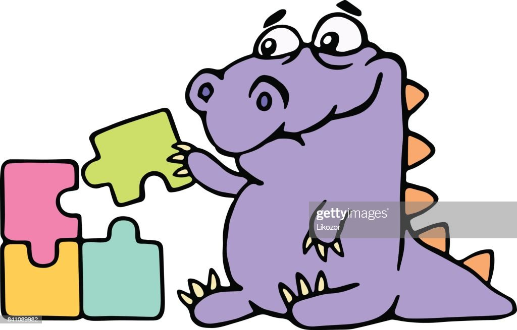 Cartoon purple croc playing with a puzzles. Vector illustration.