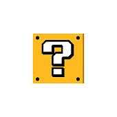 Cartoon question box. Game. Vector icon.