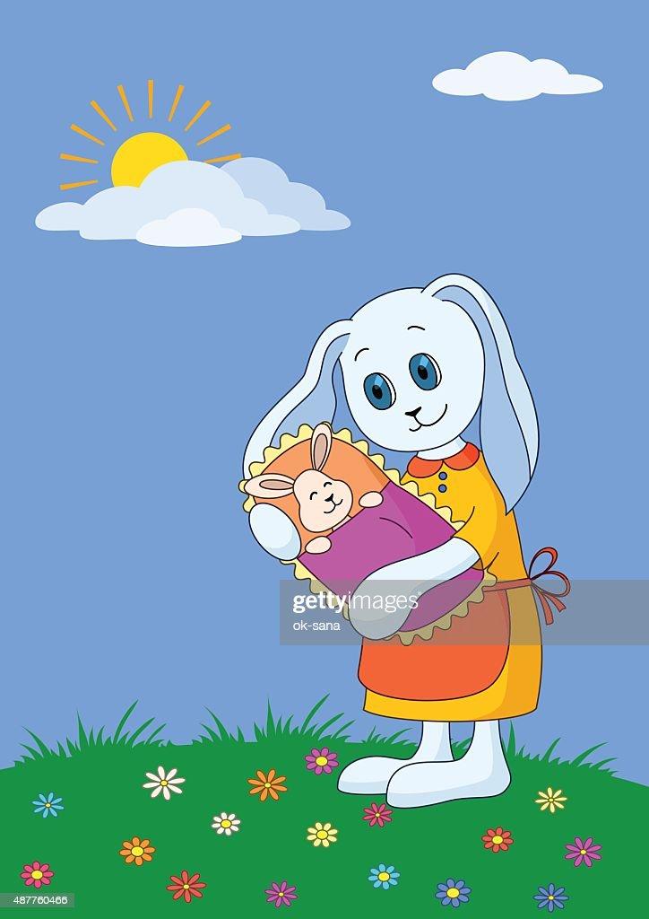 Cartoon rabbit mother with baby