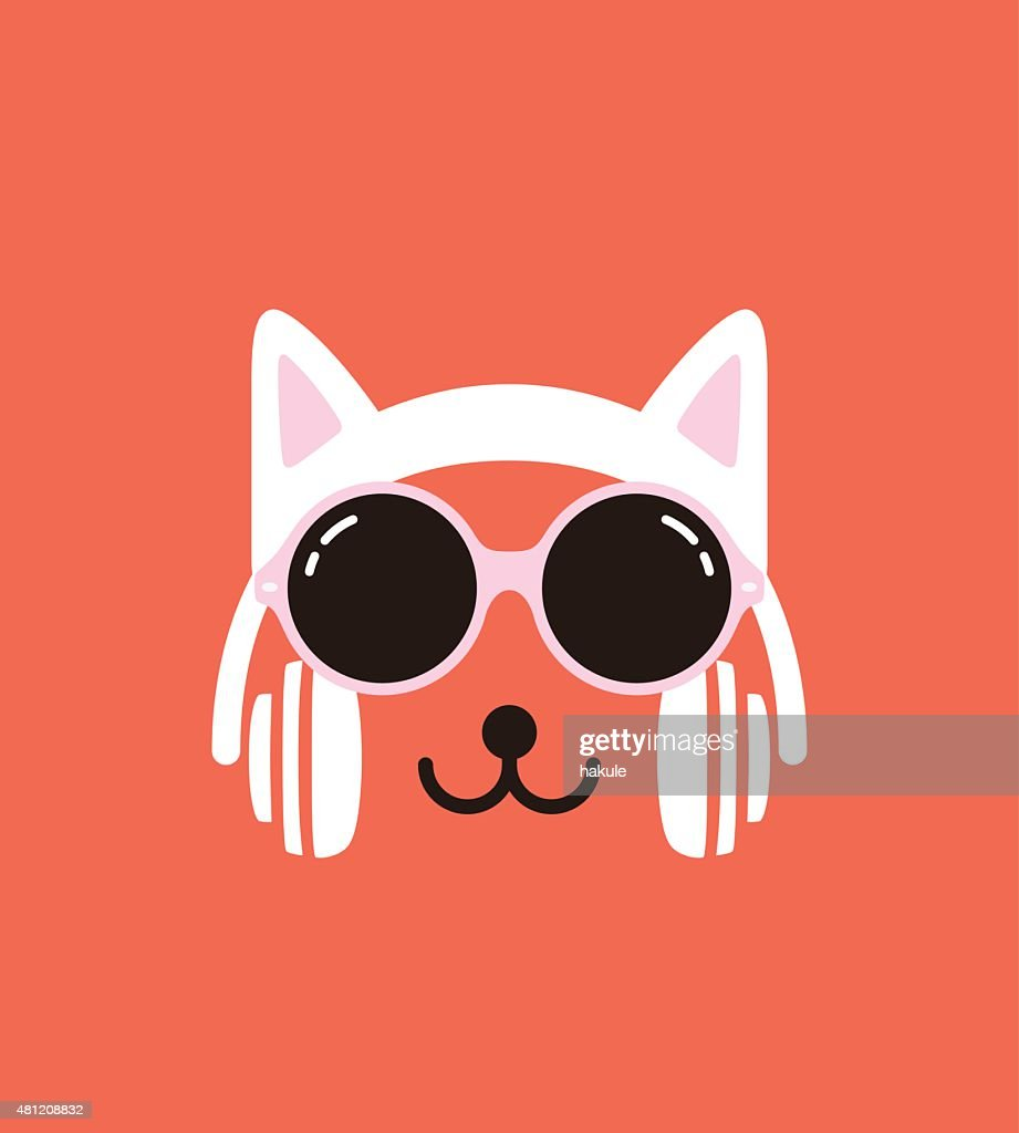 Cartoon Rabbit wearing a Cat' sheadset and glasses, vector