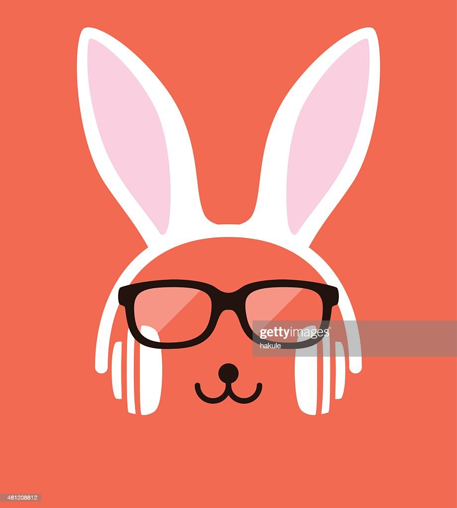Cartoon Rabbit wearing a headset and glasses, vector