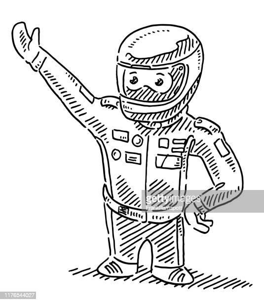 ilustraciones, imágenes clip art, dibujos animados e iconos de stock de dibujo de conductor de coche de carreras de dibujos animados - piloto de coches de carrera